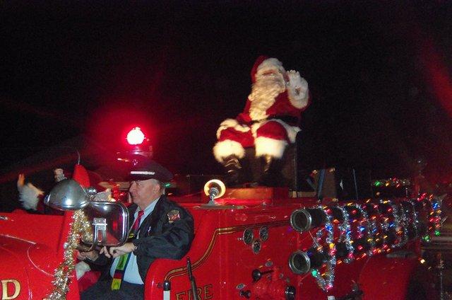 Santa on Fire Truck