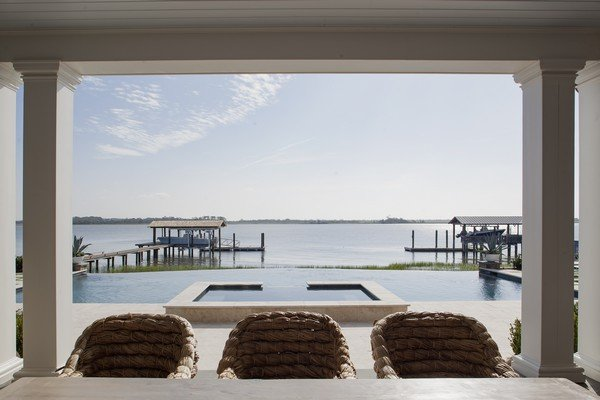 An idyllic view from the back porch of a Harrison Design home on Sea Island.