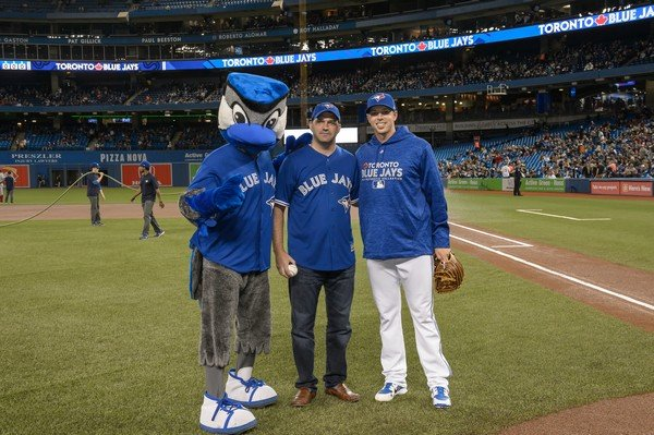 Chad with Blue Jay masot and pitcher.jpg