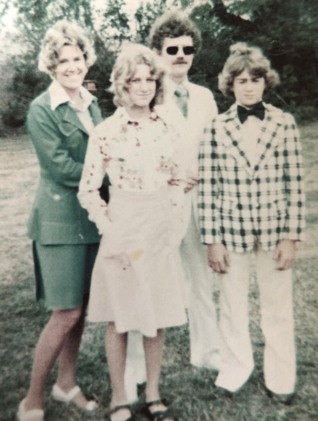 Nancy, Kelly, Bob, and David Butler, Easter 1975