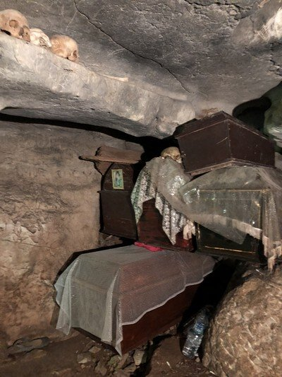 Coffin in cave today