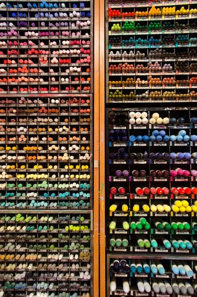 Display at Magasin Sennelier, the 130 year-old paint shop that invented oil pastels for Picasso