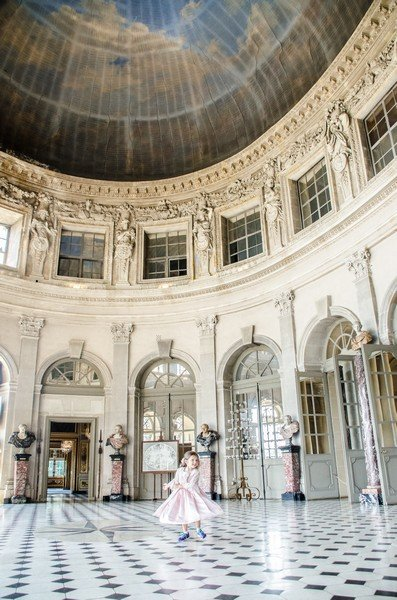 Emilyn in the Grand Salon of Chateau Vau-le-Vicomte in Paris