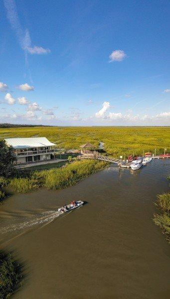 Village Creek Landing aerial with boat