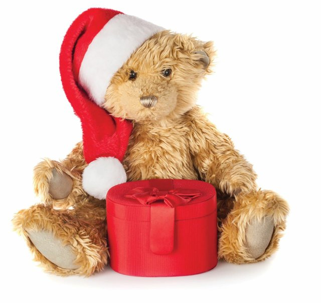 Christmas bear with gift box
