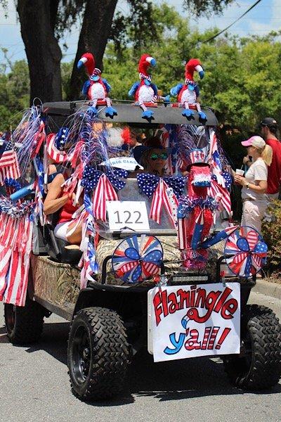 Flamingo cart 4th of July parade