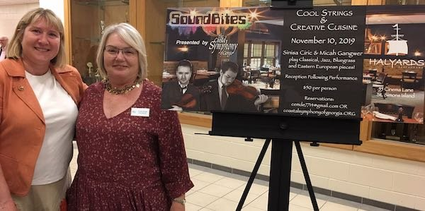 Jill Wright, Chris Emde promoting SoundBites at Halyards on November 10
