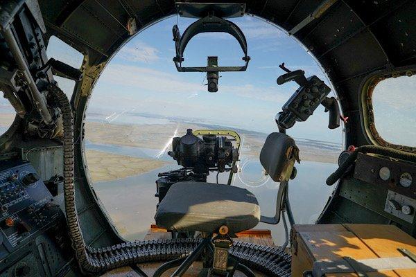 Aluminum Overcast in flight  chin turret