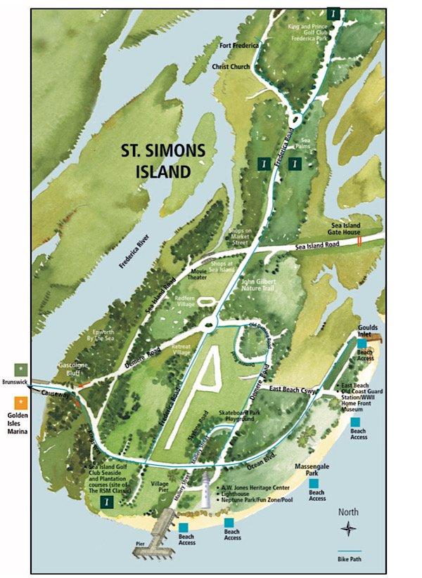 St Simons Island Pocket Guide Map