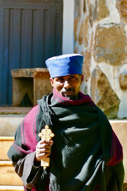 Ethiopian Orthodox Monk in Courtyard