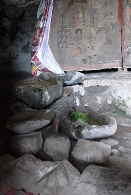Stones collecting holy water