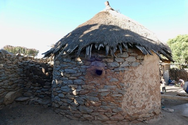 Round house with thatched roof