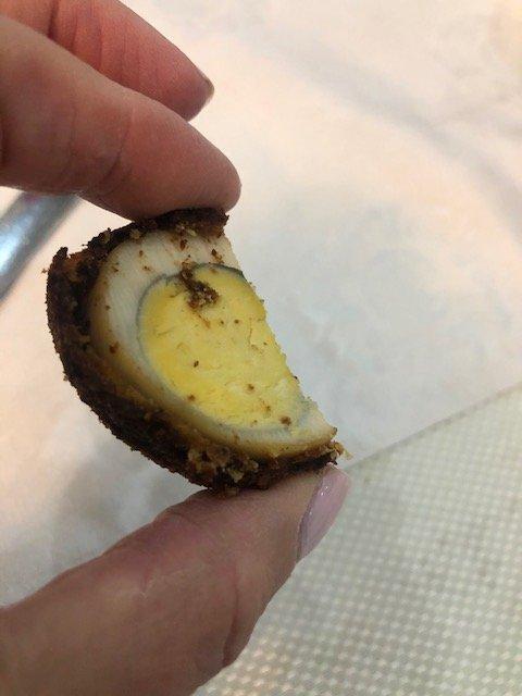 Battered fried hard-boiled egg