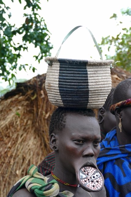 Mursi woman with lip plate intact
