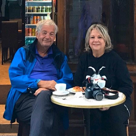 Ken and Judy at a cafe