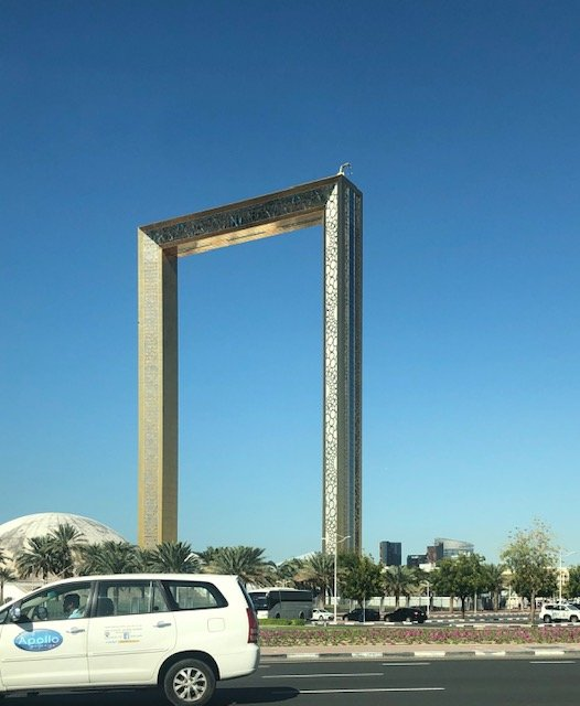 "Literally called the Dubai Frame. Supposedly, you look through one direction and see ""new"" Dubai. Look the opposite way and see old Dubai."