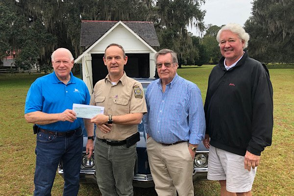 From left, Duane Harris, President, Friends of Coastal Georgia History; Bill Giles, Historic Site Manager; Mason Stewart, President FOH; Gordon Strother, FOH Trustee.