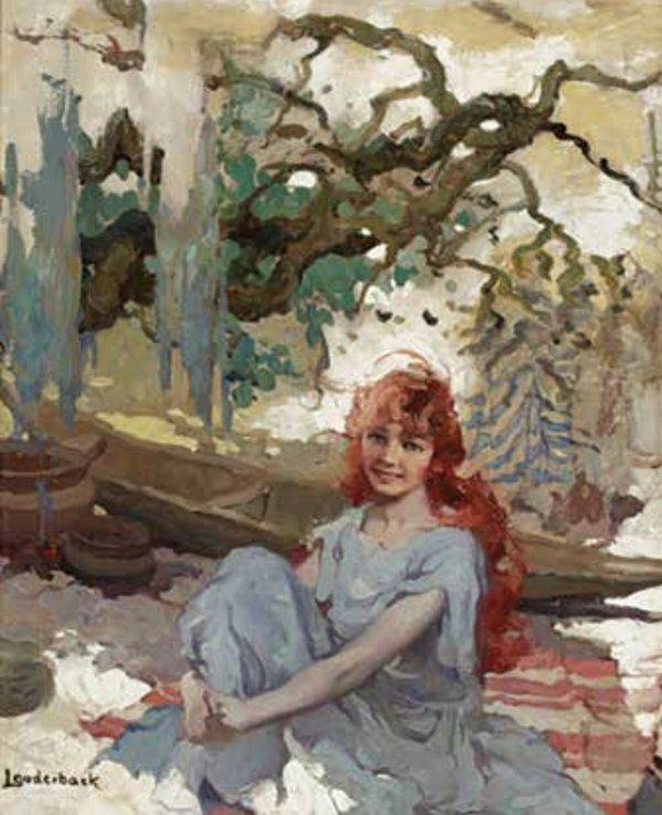 Girl at Cabin by Walt Louderback