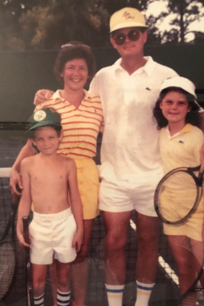 Sharon and Bonneau Ansley Jr., with children Bonneau III and Fayne playing tennis on Sea Island in the 1980s.