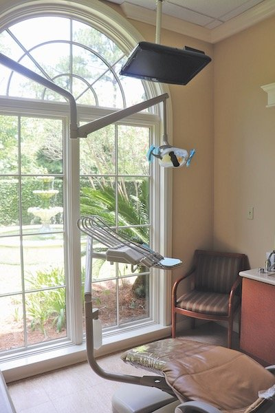 Relax with a peaceful view of the courtyard and fountain from the state of the art treatment rooms.