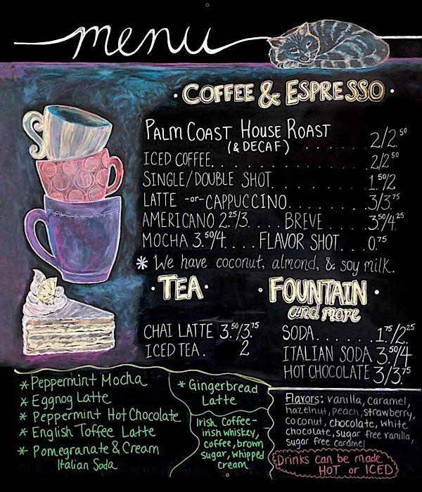 Menu board at Palm Coast Coffee Café and Pub SSI