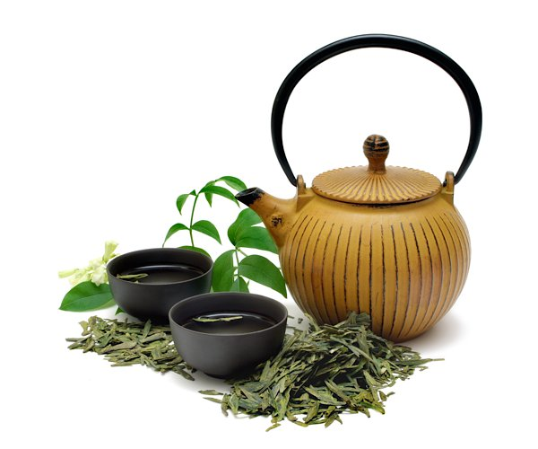 Tea leaves and pot