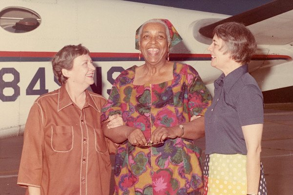 Eugenia Price and Joyce Blackburn welcome Ethel Waters at the SSI Airport