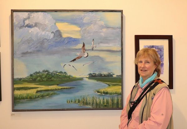 Lydia Thompson with her work.
