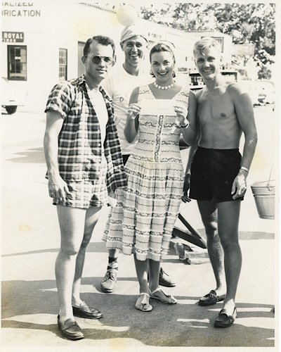 "Miss America 1955, Lee Meriwether with St. Simons Jaycees (from left) Jack Jenkins, Lamar ""Racehorse"" Davis, and Joe Bradford."