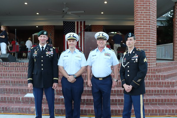 Guest speakerLt. Col. Steve Bolton, Hunter Army Airfield Commander; Lt. Pat Frain and Cmdr.. Efren Lopez of the US Coast Guard; and Sgt. Jeremy Yeargin of the GA Army National Guard