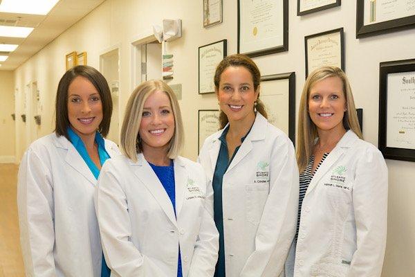 Atlantic Shore Dermatology Team: Rachel Hawkins Duncan, PA-C; Lindsey Gross Jones, PA-C; Ashley Cavalier, M.D.; Hannah Davis, NP-C