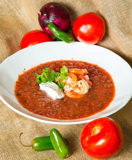 Gazpacho with Tequila Shrimp from The Half Shell