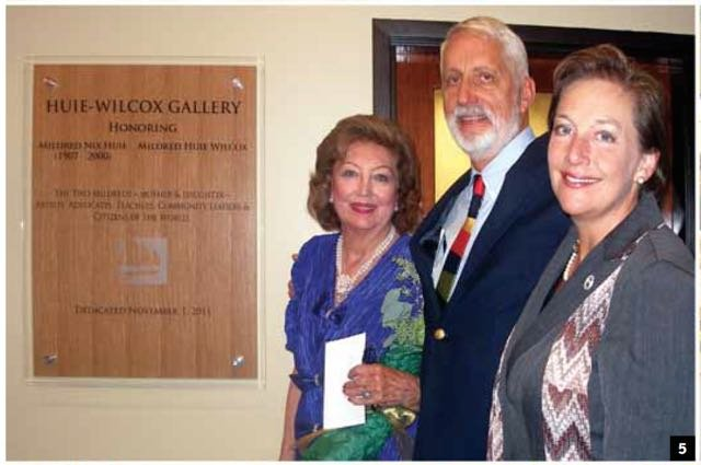 Millie, her brother, John Huie, and Valerie Hepburn unveil The Huie Nix Gallery at the College of Coastal Georgia
