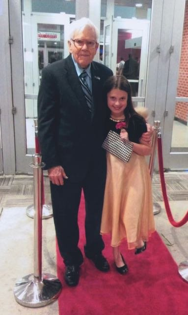 "Pierce and ""his favorite new project"": escorting his great-granddaughter Alyssa to a ""Dads & Dolls"" dance in February while her father is away serving in the military."