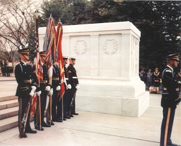 Harry Moffitt (at far right) with the Color Guard at The Tomb of the Unknown Soldier