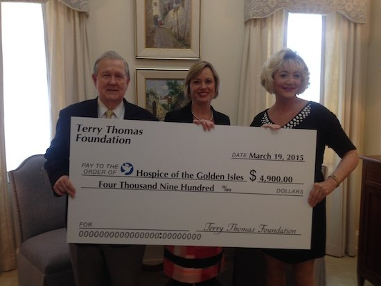 Terry Thomas Foundation check presentation.Dewey Benefield.Karen Brubaker.Susan Goodhue.jpg