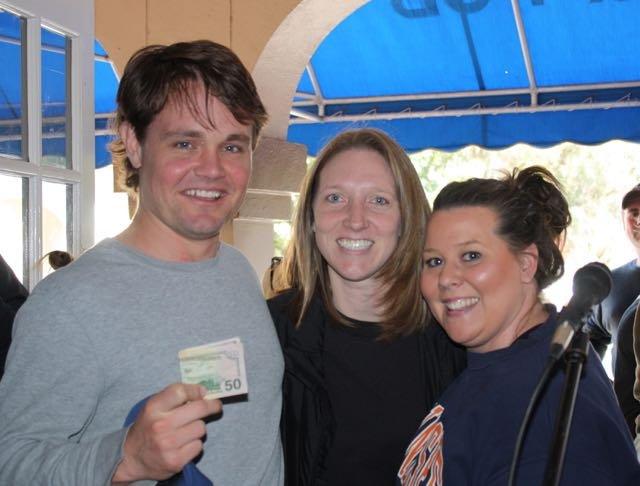 Worst Hand winner Jason Hodges with Valerie Barnett and Sarah Butler