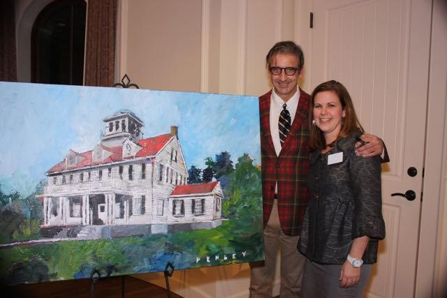 Artist Steve Penley and Hilary Stringfellow with the raffled painting