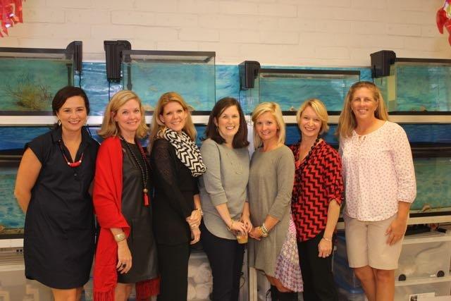 SSE Staff and PTA members: Cara Wommack, Anne Cranz, Courtney Roberts, Sara Brown, Brandi Scott, SSE Principal Katy Ginn, and Ocean Lab Instructor Brooke Vallaster
