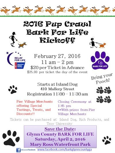 2016 Pup Crawl Bark For Life Kickoff poster
