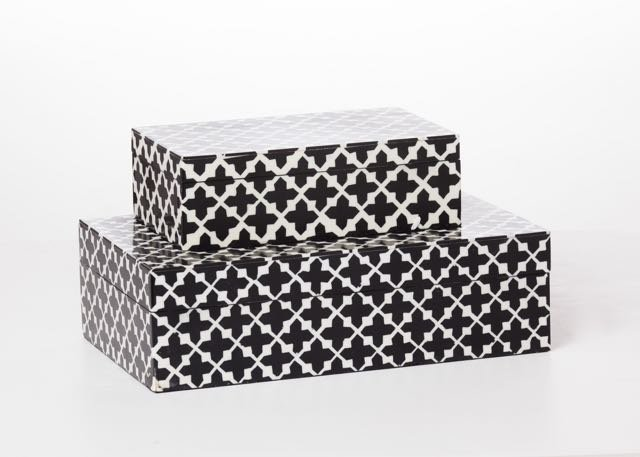 When your bedside table is bereft of drawer space, lacquered boxes, like these in black and white from Elizabeth Smith Interiors, are great options for tabletop storages.