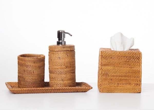 Lavish your guest loo with love - handwoven Balinese ata reed vessels from Elizabeth Smith Interiors are the pinnacle of coastal chic.