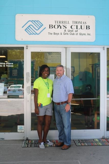 2016 Youth of the Year Tireanna Medlock with Boys and Girls Club of Southeast Georgia Chief Professional Officer Brian Dolan at the Terrill Thomas Unit.