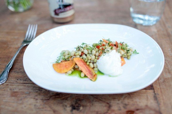 Marinated White Acre Peas with Georgia Peaches and Burrata