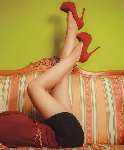Closeup of sexy woman legs wearing high heels.