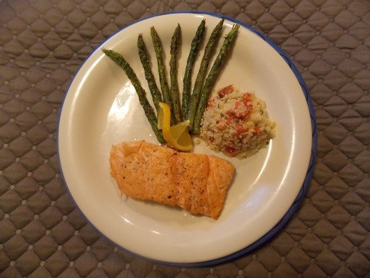 Seared Salmon with Cauliflower Coucous and Asparagus