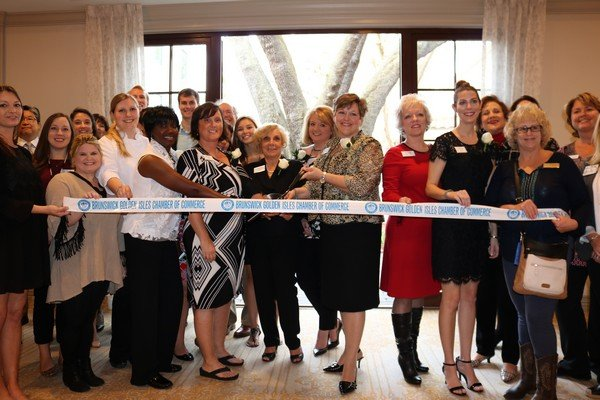 The official ribbon cutting with the Brunswick Golden Isles Chamber of Commerce ambassadors