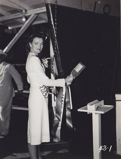Doris Duke Christening the Liberty Ship named after her father.