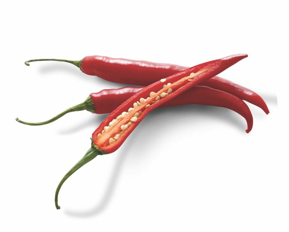 Three chili peppers on white